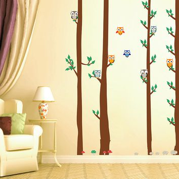 cik1670 Full Color Wall decal bedroom children's Custom Baby Nursery tree nusery decal tree forest owl birds