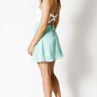Mint Strapless Dress with White Lace Cutout Bodice