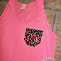 Monogrammed Neon Pink Tank Top with Leopard Print Fabric Pocket