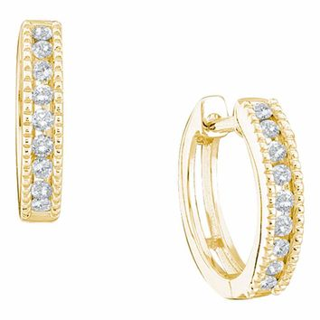 10k Yellow Gold Round Channel-set Diamond Womens Simple Milgrain-accent Hoop Earrings 1/4 Cttw
