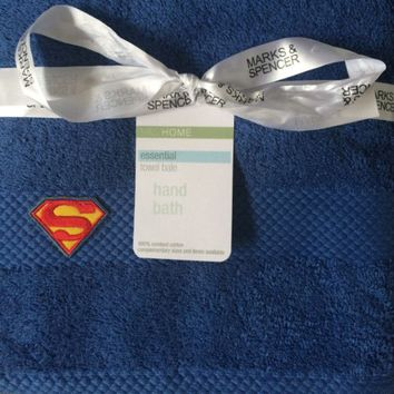 M&ampS Superman 2 Piece Towel Set - Available in Blue, White or Beige