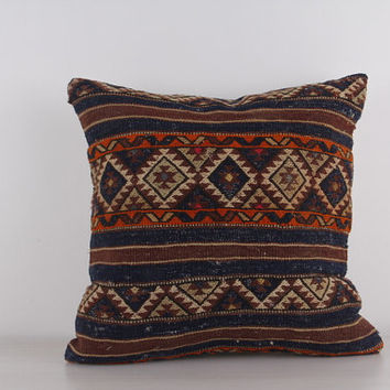Navy Unique Rustic Home Decor 20x20 Decorative Kilim Pillow Outdoor Floor Sham Bohemian Decor Boho Ethnic Tribal Accents Throw Pillow