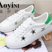 2017 Hot Sale Fashion Women Shoes Fats Casual Sport Breathable PU Stars Shoes Women Casual Shoes Free Shipping