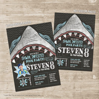 Shark Party Invitations - Beach Bash Invitation, Beach Swimming Party, Shark Bite, Fish Party, Underwater, Ocean, Under the Sea Invite
