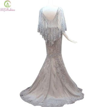Bride Luxury Crystal Beading Long Evening Dress Sexy Backless Grey Lace Fishtail Sweep Train Luxury Prom Dress