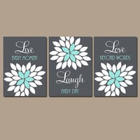 Live Laugh Love Wall Art, Baby Girl Nursery Wall Art, Girl Bedroom Pictures, CANVAS or Prints, Bathroom Artwork Set of 3 Home Decor