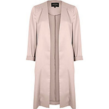 Blush pink satin duster jacket