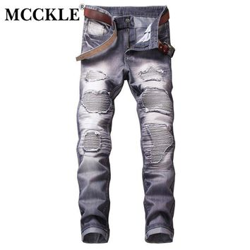 MCCKLE Men Vintage Repaired Distressed Jeans Men's Straight Slim Ripped Hole Denim Jeans Patchwork Jeans for men