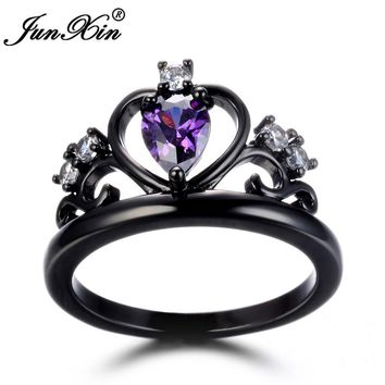 JUNXIN Male Female Crown Ring Green Blue Red Purple CZ Ring Vintage Black Gold Wedding Rings For Men And Women Fashion Jewelry