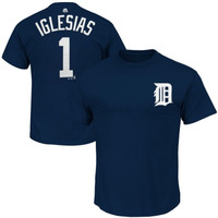 Jose Iglesias Detroit Tigers Majestic Official Name and Number T-Shirt – Navy Blue