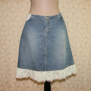 Denim Skirt Hawaiian Print Surfer Casual Jean Skirt Medium Large Summer Skirt Billabong Size 11 Junior Teen Clothing Womens Clothing