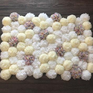 Kids room decor kids rug pom pom rug newborn photography props nursery decor nursery rug nursery room decor baby shower gift living room rug