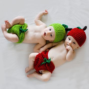 Baby Photography Prop Newborn Lovely Cotton Wool Handmade Clothes Infant Crochet Knitted Hat Pants Outfits Costume