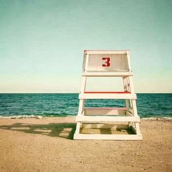 Lifeguard Chair Vintage Beach Photography Limited Edition Photo Oversized Print Coastal Wall Art Beach Decor Ocean Sea Aqua Teal Red Beige