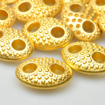 2 Pcs Gold Plated Oval Jewelry Connectors, Matte Gold Plated Dotted Large Connector, Jewelry Making Supplies