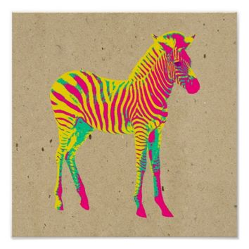 Neon Baby Zebra Psychedelic Pink Yellow & Green Poster