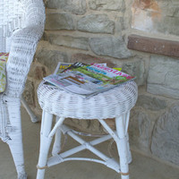 Shabby Chic White Wicker Side Table, Round Vanity Stool, White Wicker Footstool, Small Round Wicker Table
