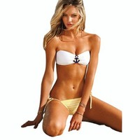 Size S/m/l Hot Sexy Sailor Bikini Anchor Bandeau Top+string Bottom Swimwear Swimsuit
