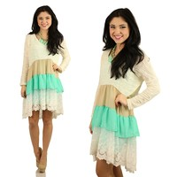 Third In Line Lace Dress in Ivory & Mint