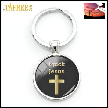 I Pick Jesus Golden Cross Keychain Charm Fashion Key Chain Key Ring Gift Car Keychain Faith Christianity Jewelry