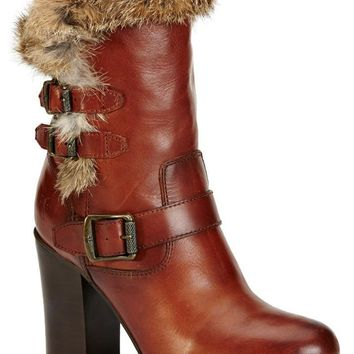FRYE Penny Redwood Rabbit Fur/Leather Women's Boots