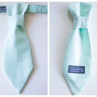 Pale Mint Dog Tie With Collar Optional Leash by Dog and Bow