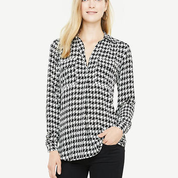 Houndstooth Camp Shirt | Ann Taylor