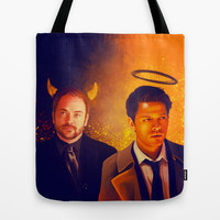 Good & Bad - Supernatural - Castiel Crowley Tote Bag by KanaHyde