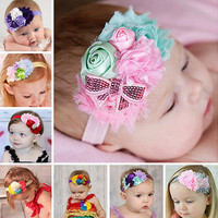 Baby Girl Hairband Bow Soft Head Elastic Band Headband Flower Hair Accessories W