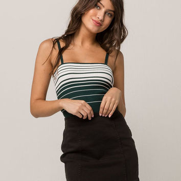 SKY AND SPARROW Ribbed Stripe Hunter Womens Cami