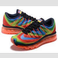 """NIKE"" Trending AirMax Toe Cap hook section knited Fashion Casual Sports Shoes Rainbow"
