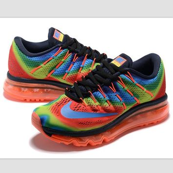 NIKE Trending AirMax Toe Cap hook section knited Fashion Casual Sports Shoes Rainbow color blue hook orange soles