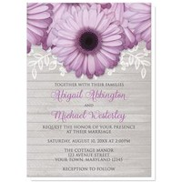 Rustic Purple Daisy Gray Wood Wedding Invitations