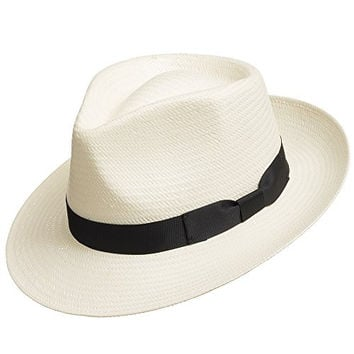 Fedora Gullport Classic Straw Panama Hat includes Exotic Feather WHITE 7 1/2