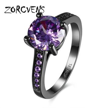 ZORCVENS Vintage Pattern Black Gun Plated CZ Blue Crystal stone Party Wedding Rings For Women Christmas Fashion Jewelry