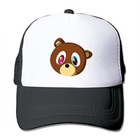 LIANBANG Kanye West bear head Adjustable Printing Mesh Cap Unisex Adult Sun Visor Baseball Mesh Hat
