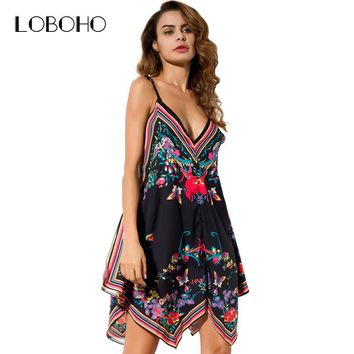 Summer Dresses Women Fashion V Neck Silk Casual Dress Floral Print Sexy Spaghetti Strap Dress With Open Back