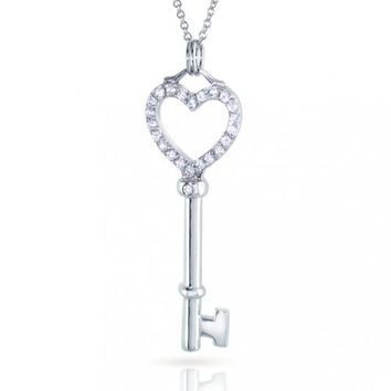 Mothers Day Gifts Pave Clear CZ Open Heart Key Sterling Silver Pendant Necklace 18in