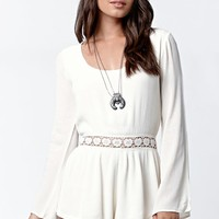LA Hearts Crochet Inset Bell Sleeve Romper - Womens Dress - Natural