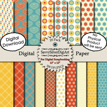 Flower Digital Paper -INSTANT DOWNLOAD Antique Red, Blue Creme, Circle Flower Polka Dot Diagonal Stripe Background Scrapbook Paper Dp42
