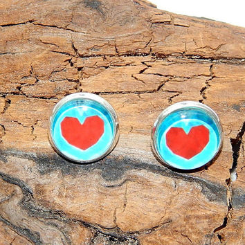 Legend of zelda Heart earrings jewelry, Zelda Blue heart Stud earrings, Zelda Heart simbol, Zelda Heart logo emblem, gamer teams earrings