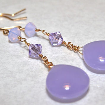 Lavender Chalcedony Earrings, Gold Wrapped, AAA Gemstones, Swarovski Crystals, Handmade