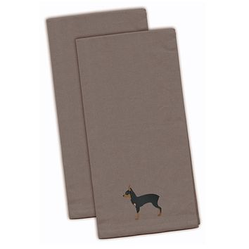 Toy Fox Terrier Gray Embroidered Kitchen Towel Set of 2 BB3387GYTWE