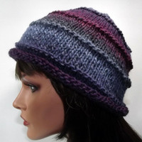 Hand Knit Hat- Fade Beanie- Blue Gray Purple Striped Stacked Hat