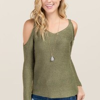 Yadra Thin Strap Cold Shoulder Sweater