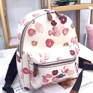 COACH Tide brand personality female floral print zipper backpack