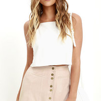 Time and Pace Pale Blush Suede Skirt