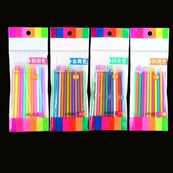 4 style 12 Colors Gel Ink Pen refills Refill Pastel Neon Glitter Sketch Drawing Markers Marker Manga free shipping