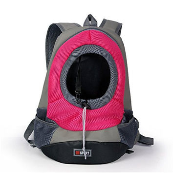 Lifeunion Easy Access Zippered Front Backpack Pet Carrier with Mesh Windows Sporty Pet Backpack for Biking, Hiking, Trip, Shopping (Pink)