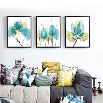 Watercolor Green Leaf Abstract Nordic Canvas Paintings Wall Art Pictures Poster Print for Kitchen Living Room Home Office Decor